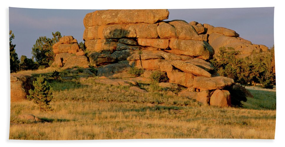 Landscape Beach Towel featuring the photograph Vedauwoo Rocks Sunset Wyoming by Ed Riche