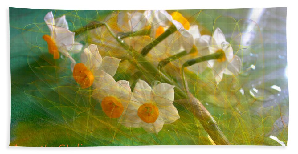 Spring Beach Towel featuring the digital art Veil On Narcissus by Augusta Stylianou