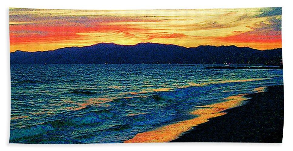 Venice Beach Beach Towel featuring the photograph Venice Beach Sunset by Jerome Stumphauzer