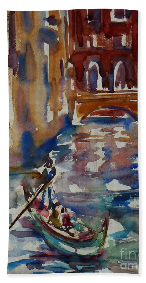 Venice Impression Beach Towel featuring the painting Venice Impression V by Xueling Zou