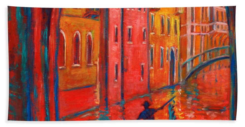 Landscape Beach Towel featuring the painting Venice Impression Viii by Xueling Zou