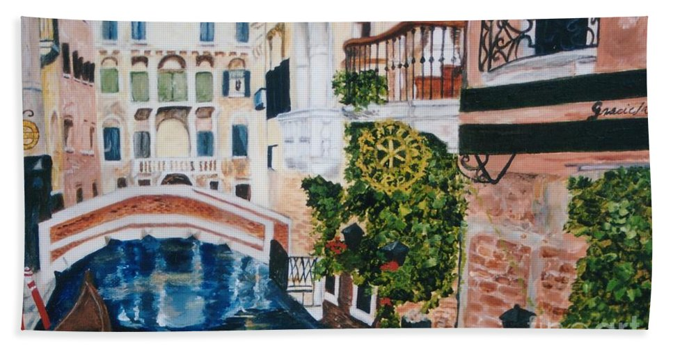 Venice Beach Towel featuring the painting Venice- Italy by Graciela Castro