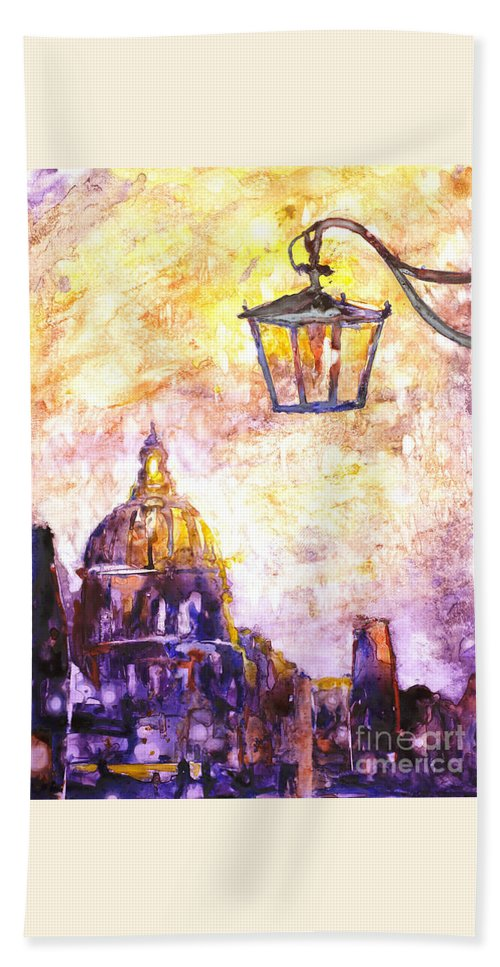 Fluid Beach Towel featuring the painting Venice Italy Watercolor Painting On Yupo Synthetic Paper by Ryan Fox