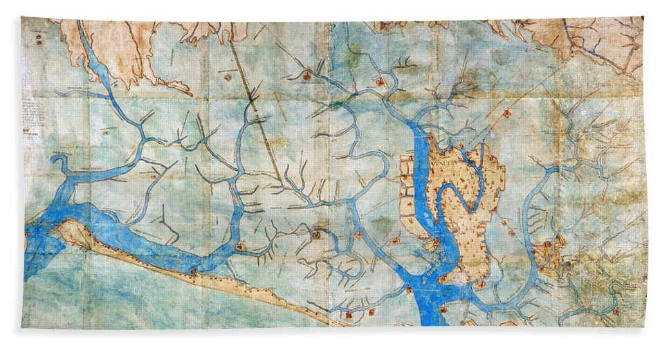 1546 Beach Towel featuring the photograph Venice: Map, 1546 by Granger
