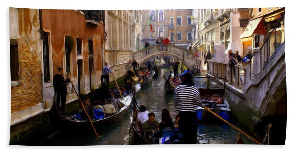 Venice Beach Towel featuring the digital art Venice by Ron Harpham