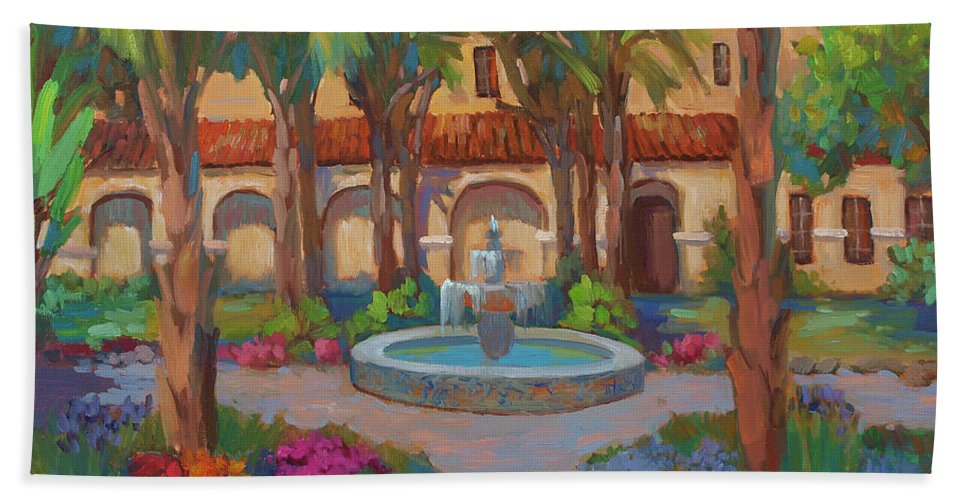 Ventura Mission Beach Towel featuring the painting Ventura Mission by Diane McClary