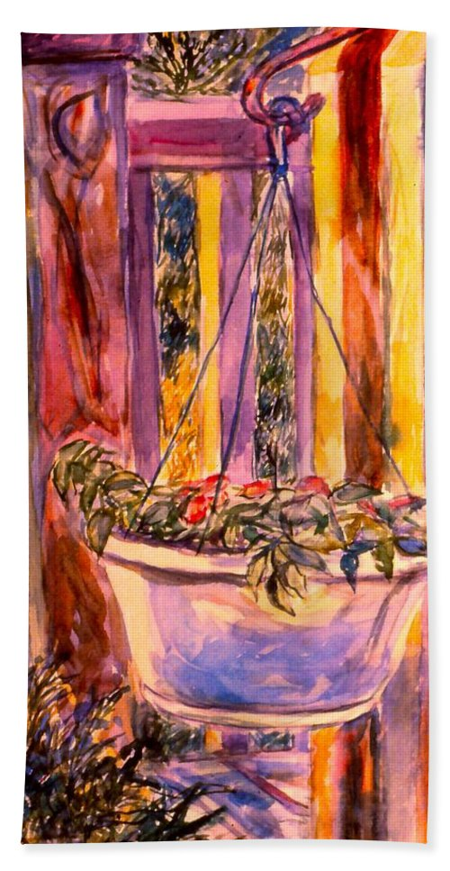 Flowers Paintings Beach Towel featuring the painting Veranda Still Life by Kendall Kessler