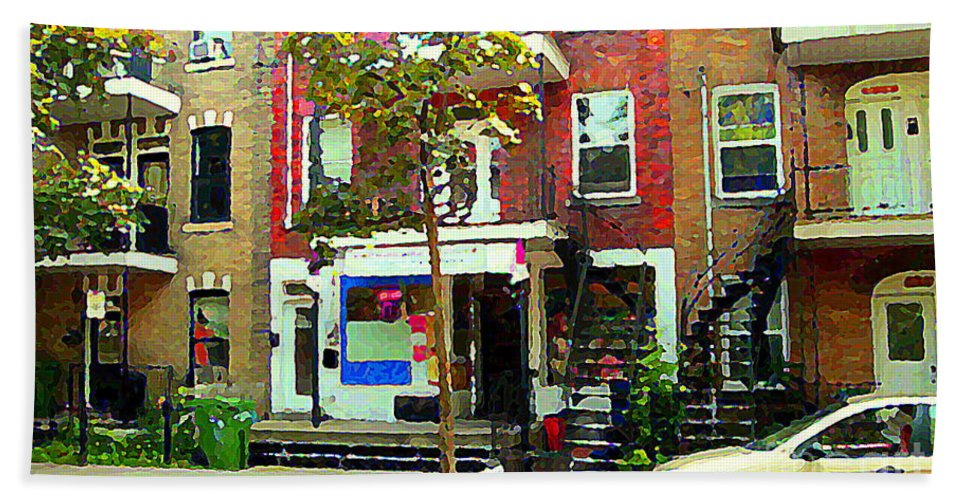 Montreal Beach Towel featuring the painting Verdun Variety Store Summer Street Scene Montreal Depanneur Double Staircases Carole Spandau by Carole Spandau