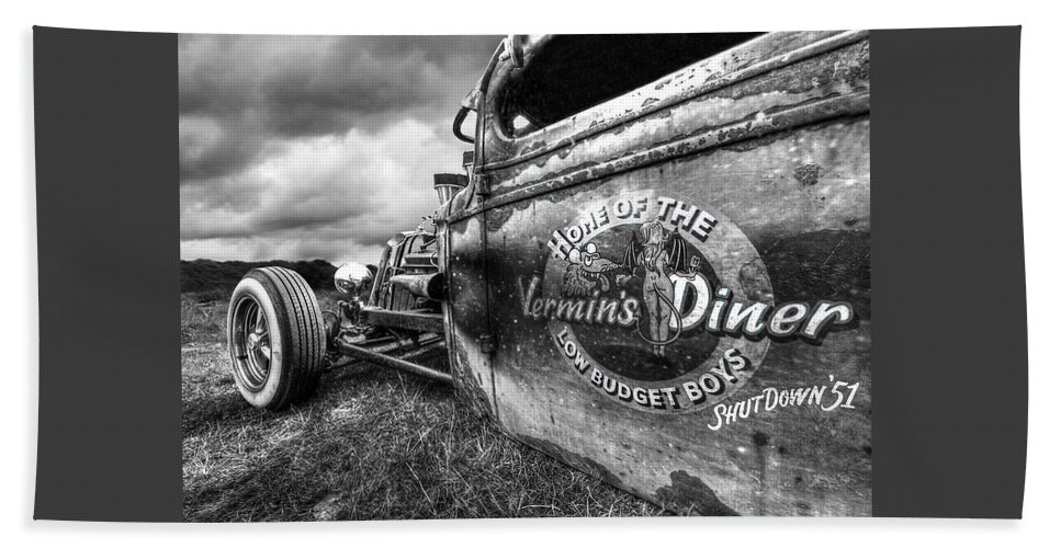 Vermins Diner Beach Towel featuring the photograph Vermin's Diner Rat Rod In Black And White by Gill Billington