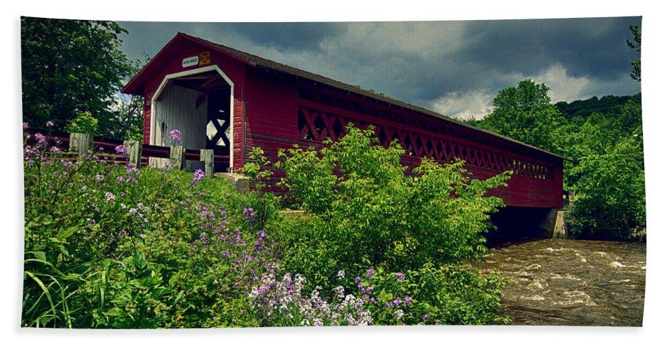 Covered Bridge Beach Towel featuring the photograph Vermont Covered Bridge by John Haldane