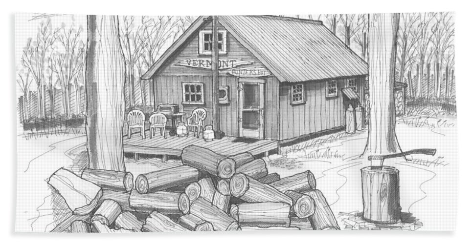Hunting Beach Towel featuring the drawing Vermont Hunter Lodge by Richard Wambach