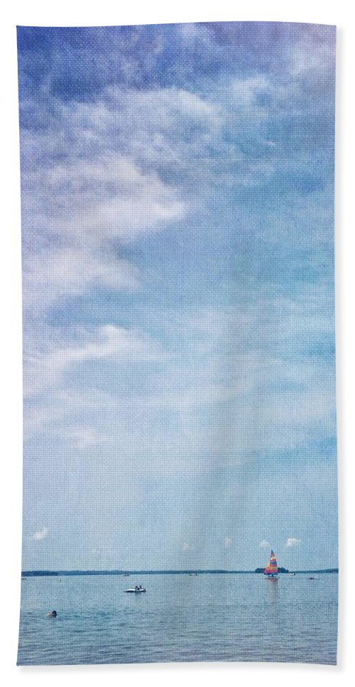 Vermont Beach Towel featuring the photograph Vermont Summer Beach Boats Clouds by Andy Gimino