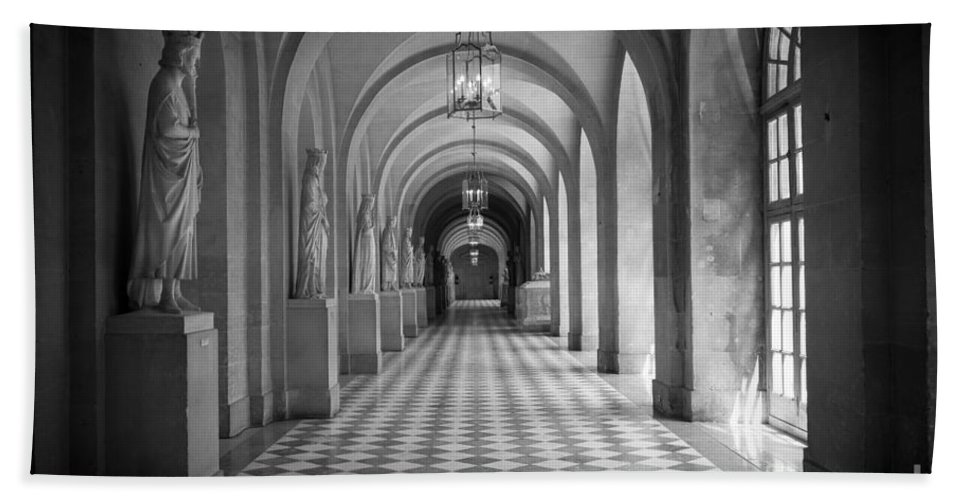 Europa Beach Towel featuring the photograph Versailles Hallway by Inge Johnsson