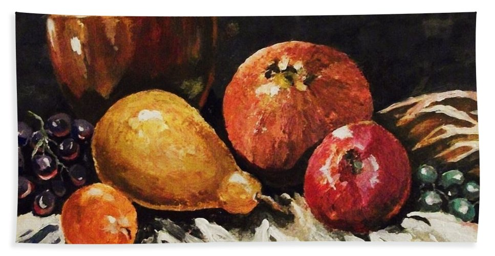 Still Life Beach Towel featuring the painting Vessel And Fruit by Al Brown
