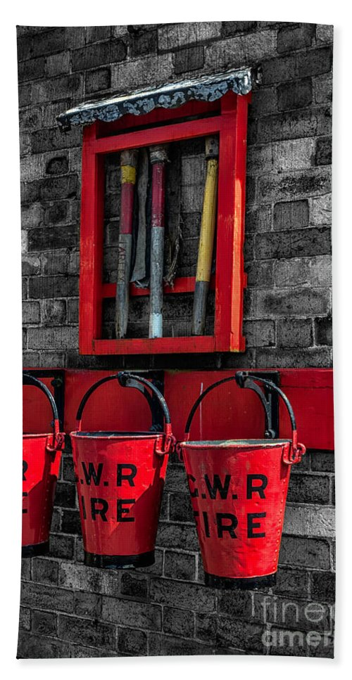 British Beach Towel featuring the photograph Victorian Fire Buckets by Adrian Evans