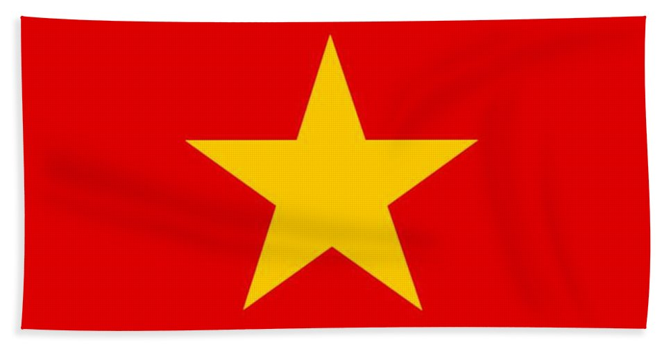Vietnam Beach Towel featuring the digital art Vietnam Flag by Frederick Holiday