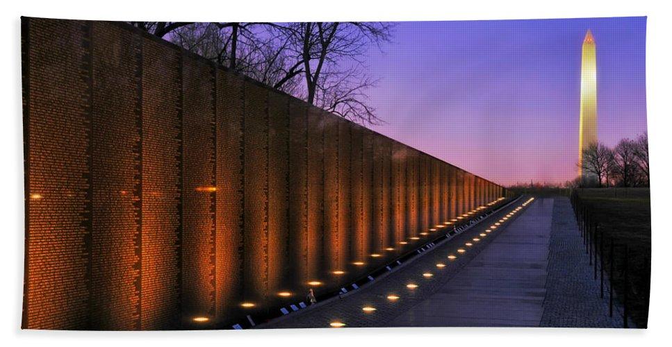Vietnam Veterans Memorial Beach Towel featuring the photograph Vietnam Veterans Memorial at Sunset by Mountain Dreams