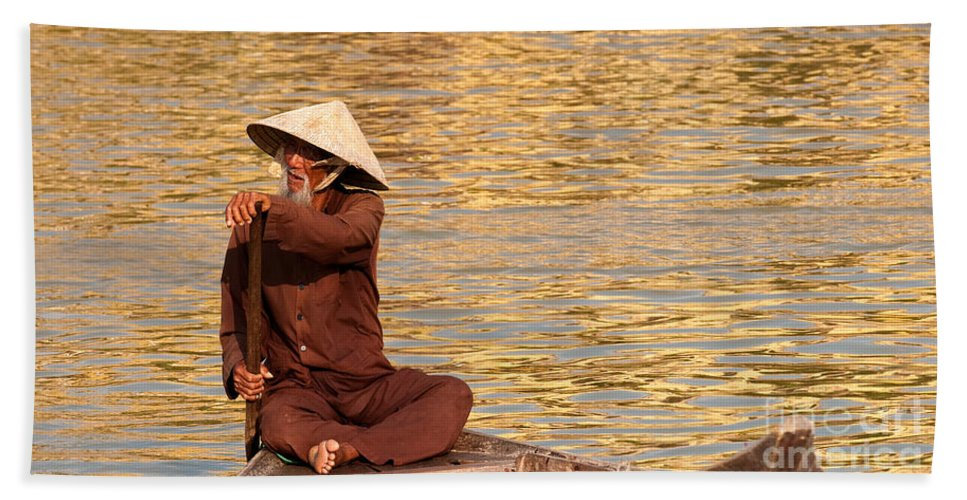 Vietnam Beach Towel featuring the photograph Vietnamese Boatman 01 by Rick Piper Photography
