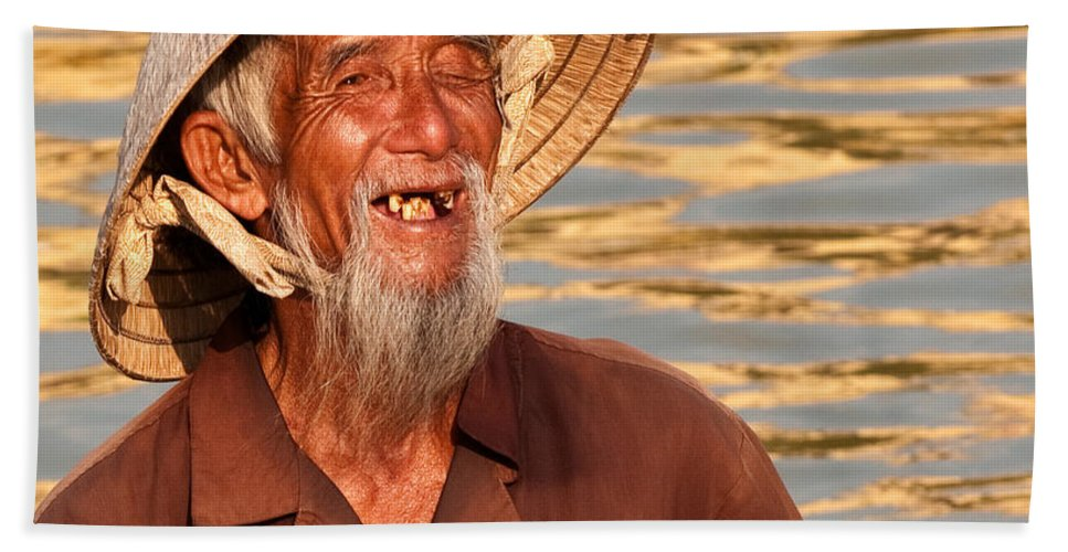 Vietnam Beach Towel featuring the photograph Vietnamese Boatman 02 by Rick Piper Photography