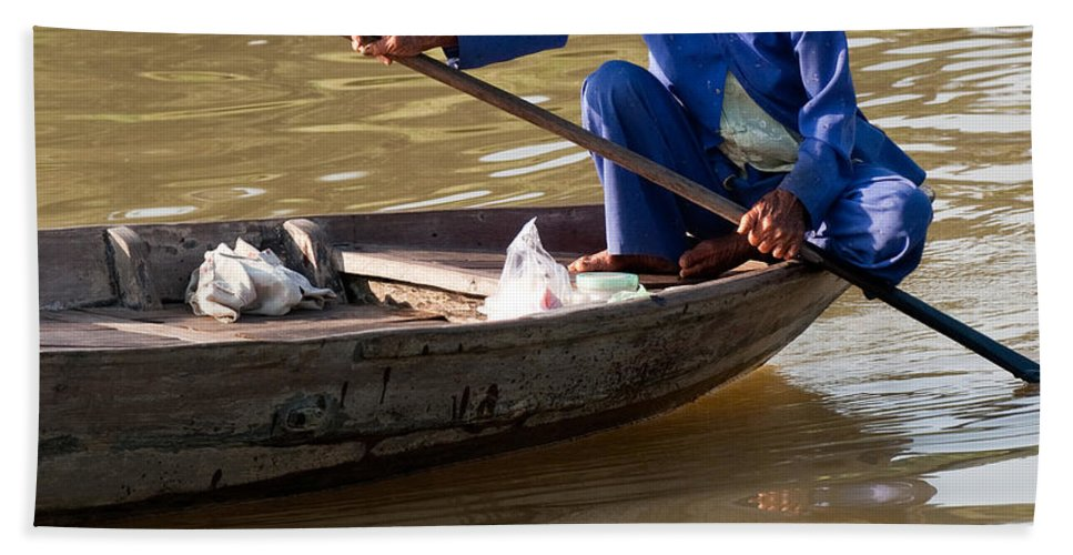 Vietnam Beach Towel featuring the photograph Vietnamese Boatwoman 01 by Rick Piper Photography