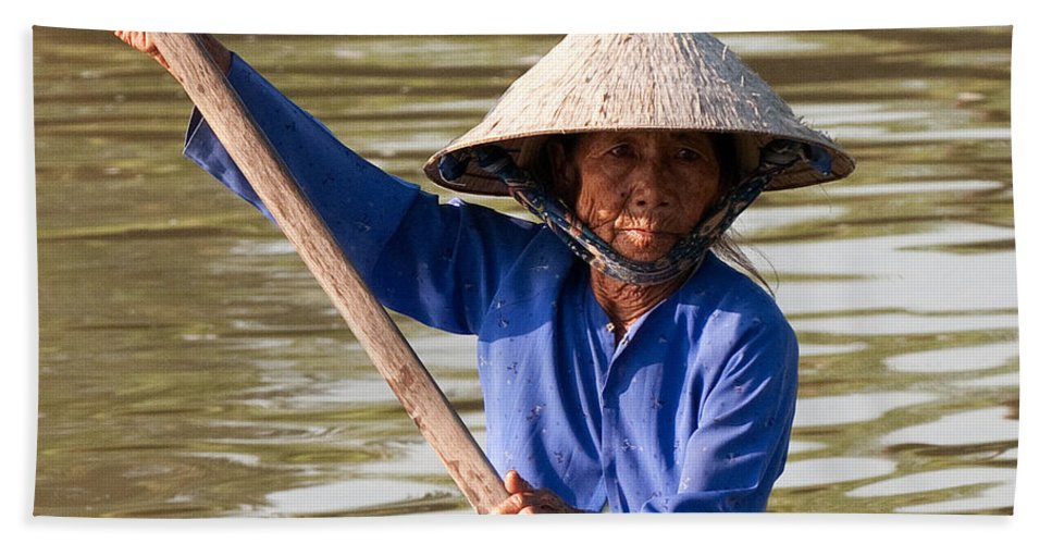 Vietnam Beach Towel featuring the photograph Vietnamese Boatwoman 02 by Rick Piper Photography