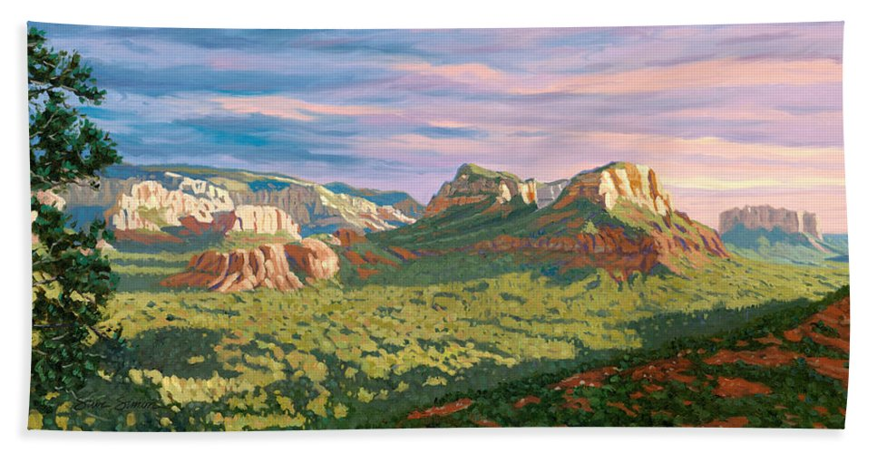 Sedona Beach Towel featuring the painting View From Airport Mesa - Sedona by Steve Simon