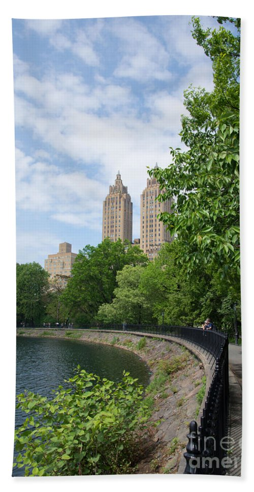 145 And 146 Central Park West Beach Towel featuring the digital art View From The Park West Side by Carol Ailles