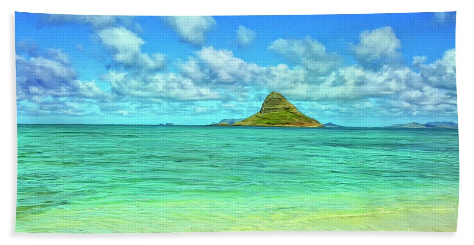 Chinaman's Hat Beach Towel featuring the painting View Of Chinaman's Hat by Dominic Piperata