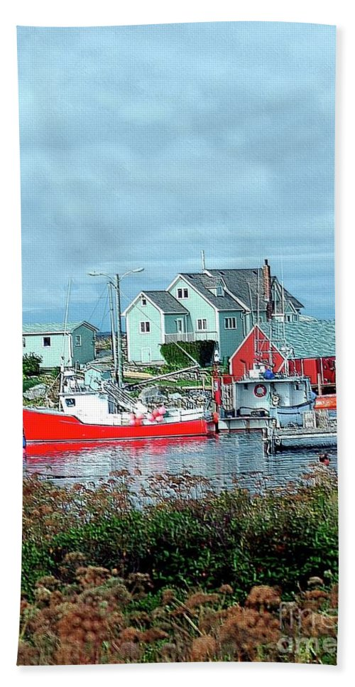 Boat Beach Towel featuring the photograph View Of Cove by Kathleen Struckle