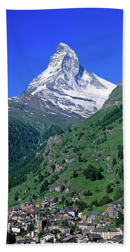 Photography Beach Towel featuring the photograph View Of The Matterhorn And The Town by Panoramic Images