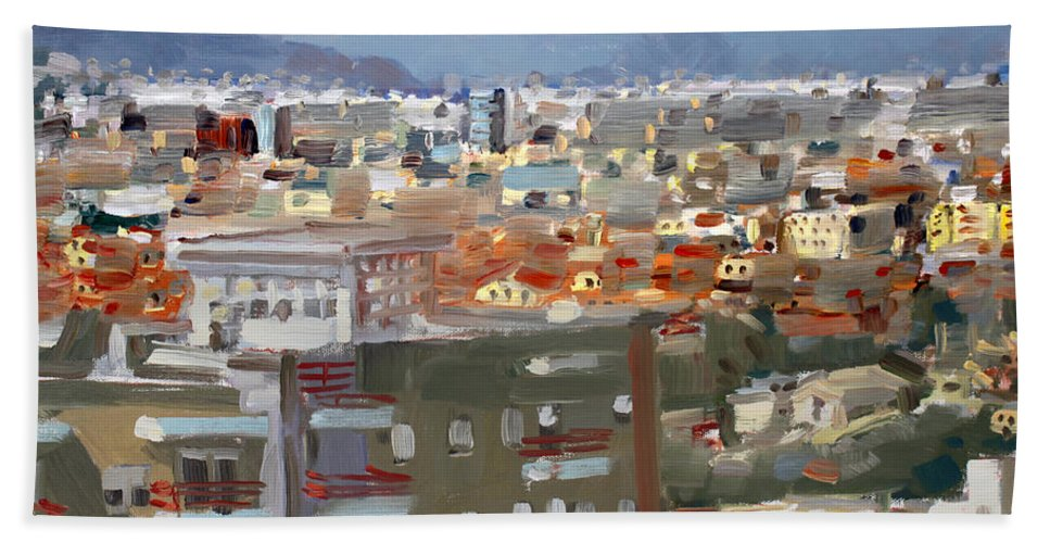Tirana Beach Towel featuring the painting View Of Tirana From Dajti Mountain by Ylli Haruni