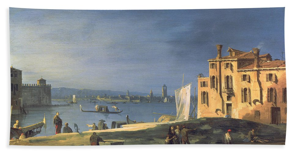 Landscape Beach Towel featuring the painting View Of Venice by Canaletto