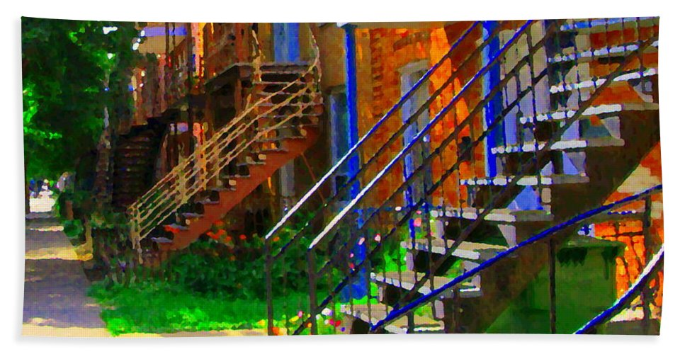 Montreal Beach Towel featuring the painting View Of Verdun Steps Stairs Staircases Winding Through Summer Montrealstreet Scenes Carole Spandau by Carole Spandau