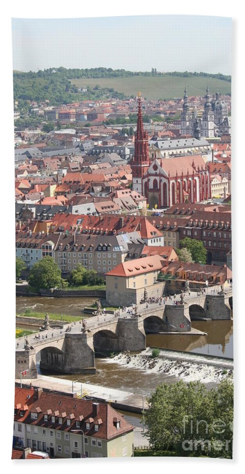 Churches Beach Towel featuring the photograph View Onto The Town Of Wuerzburg - Germany by Christiane Schulze Art And Photography