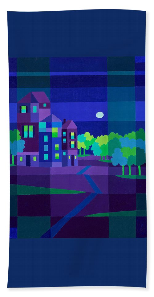 Landscape Beach Towel featuring the painting Villa Night by Michael Jernegan