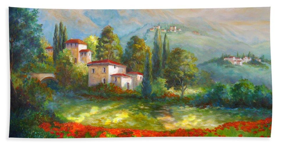 Italian Landscape Beach Towel featuring the painting Village With Poppy Fields by Regina Femrite