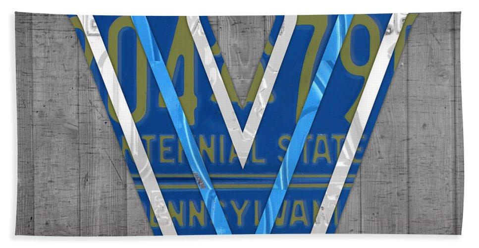 Villanova Beach Towel featuring the mixed media Villanova Wildcats College Sports Team Retro Vintage Recycled Pennsylvania License Plate Art by Design Turnpike