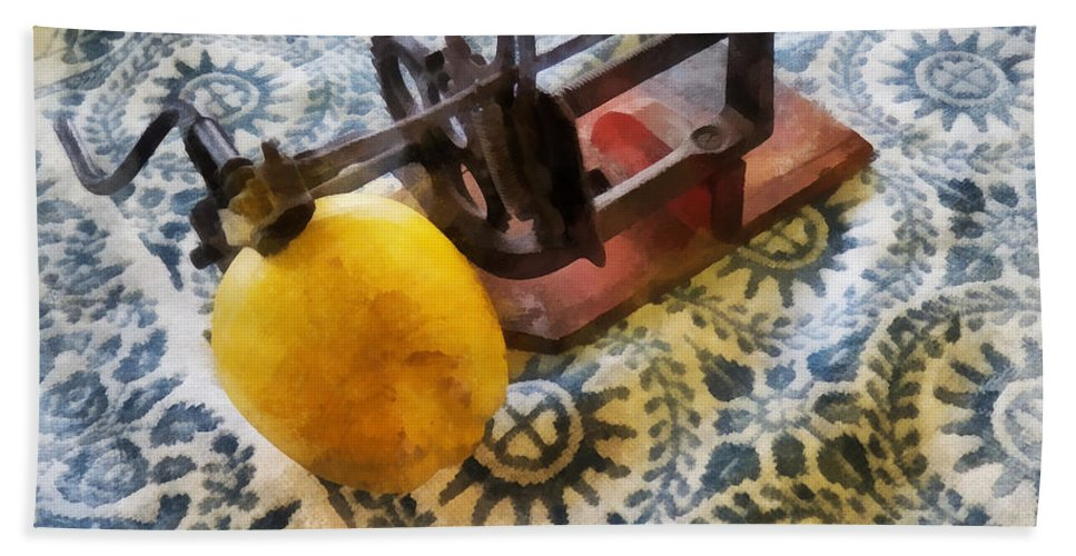 Apple Beach Towel featuring the photograph Vintage Apple Peeler by Susan Savad