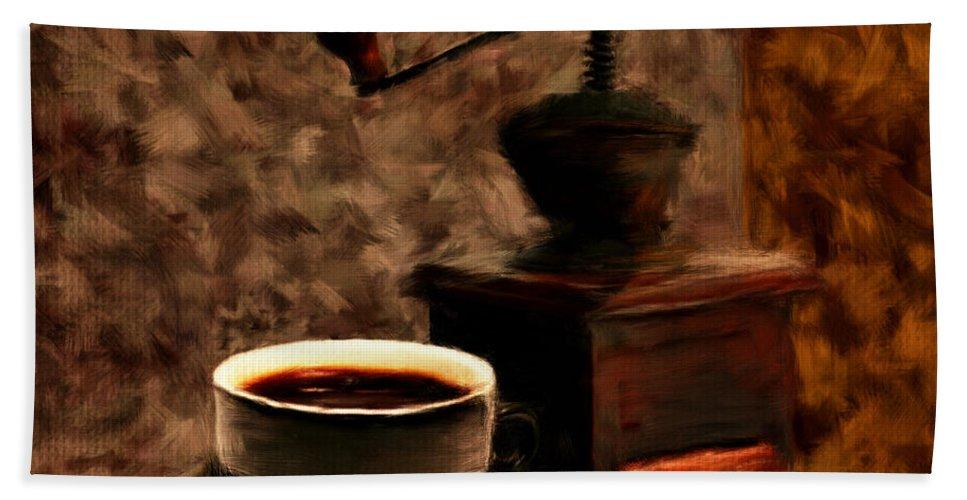 Coffee Beach Towel featuring the digital art Vintage Aroma by Lourry Legarde