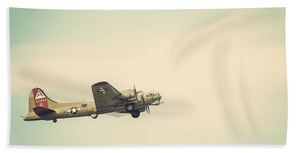 Vintage B-17 Flying Fortress Beach Towel featuring the photograph Vintage B-17 Flying Fortress by Terry DeLuco
