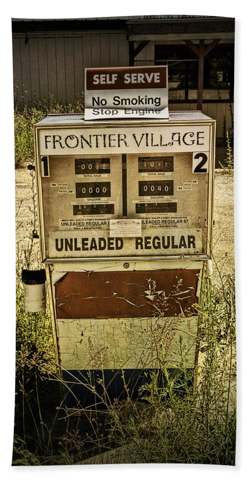 Art Beach Towel featuring the photograph Vintage Gas Pump At An Abandoned Filling Station by Randall Nyhof