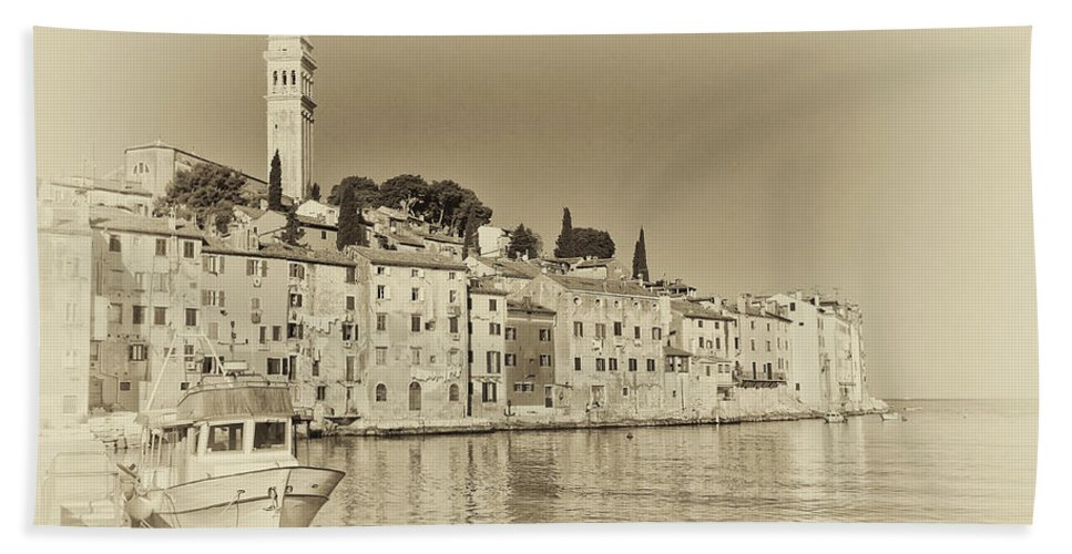 Adriatic Beach Towel featuring the photograph Vintage Harbor by Jaroslav Frank