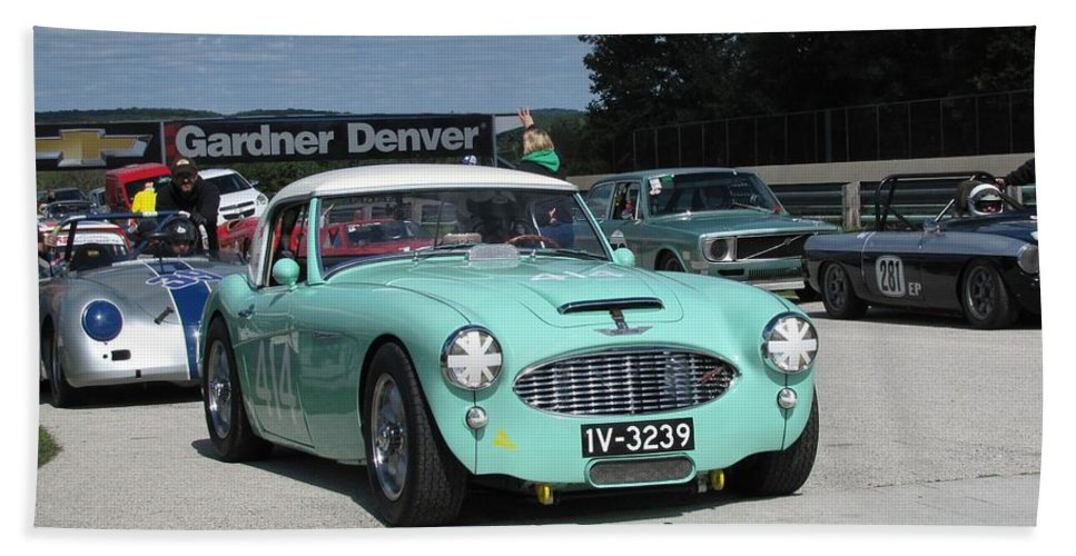 Race Beach Towel featuring the photograph Vintage Healey In Starting Grid by Neil Zimmerman
