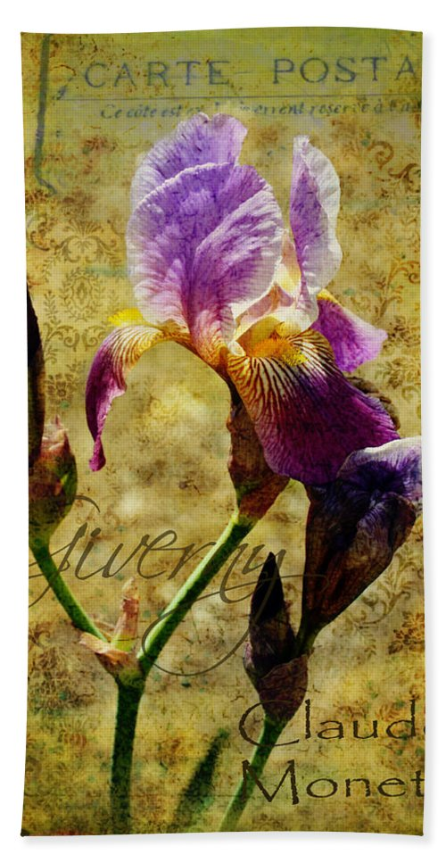 Iris Beach Towel featuring the photograph Vintage Iris by Carla Parris