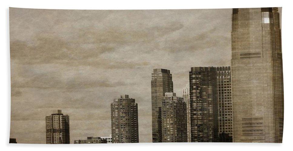 Vintage Manhattan Skyline Beach Towel featuring the photograph Vintage Manhattan Skyline by Dan Sproul