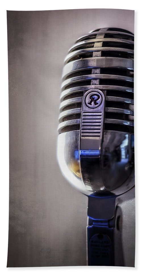 Mic Beach Towel featuring the photograph Vintage Microphone 2 by Scott Norris