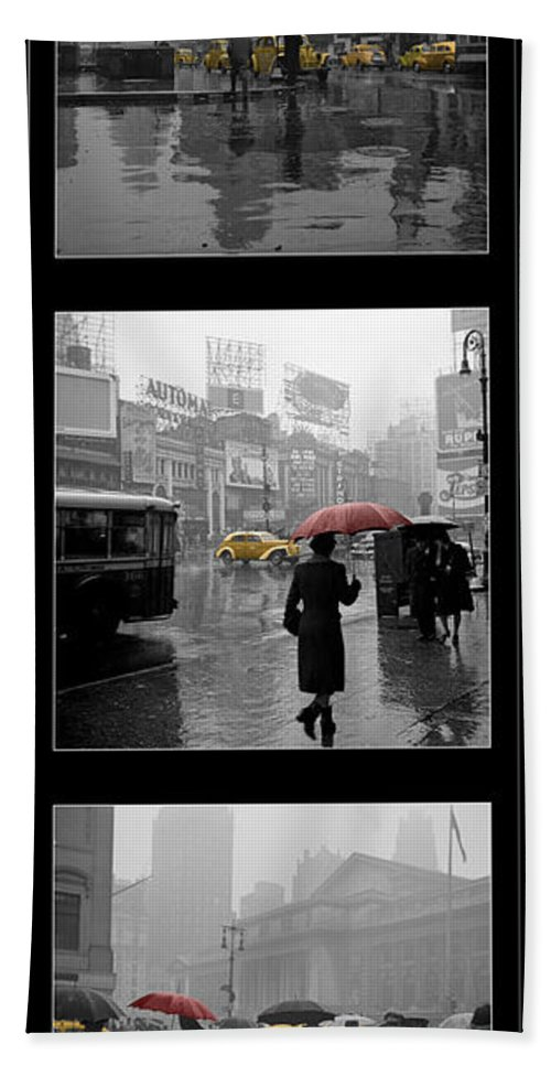 Times Square Beach Towel featuring the photograph Vintage New York Montage by Andrew Fare