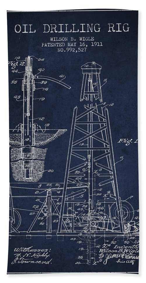 Oil Beach Towel featuring the digital art Vintage Oil Drilling Rig Patent From 1911 by Aged Pixel