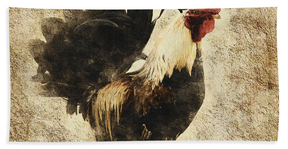 Vintage Beach Towel featuring the mixed media Vintage Rooster by Georgiana Romanovna