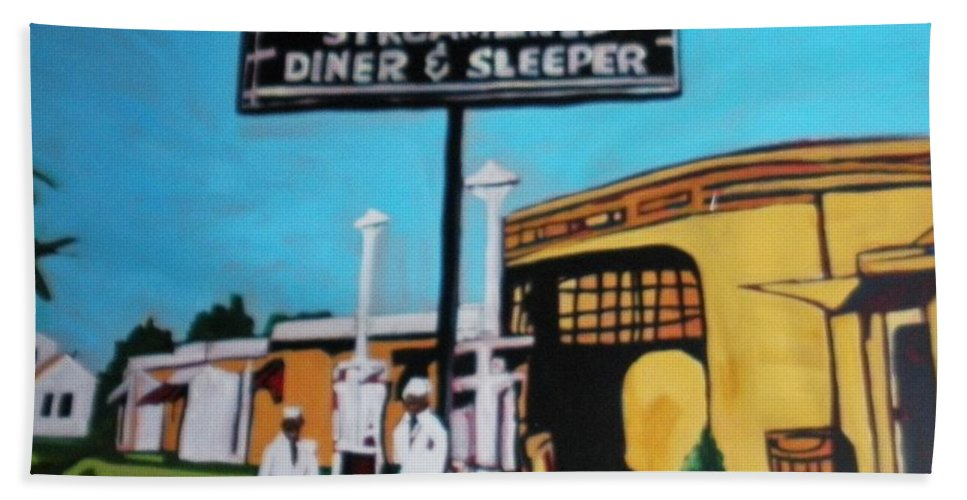 Vintage Americana On Route 66 Was Filled With Many Diner Sleepers. An Image Perhaps From The Early 50's Can Allow You To Imagine And Escape To A Time Past. Beach Towel featuring the painting Vintage Route 66 Diner Sleeper by Rebecca Lou Mudd